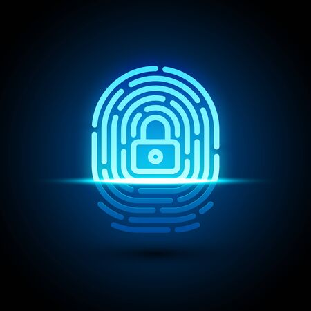 Vector finger print icon with lock inside Illustration