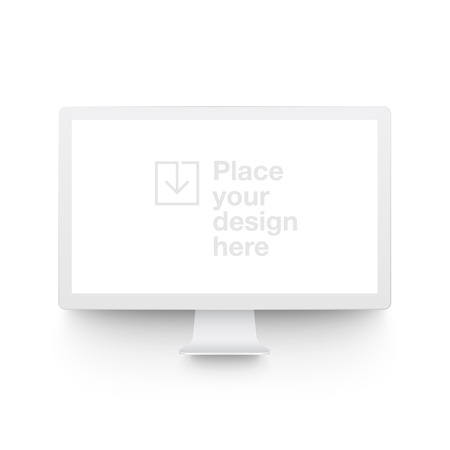 White vector clay render monitor mock up isolated on white background. Origami paper material template with realistic drop shadow. Vetores