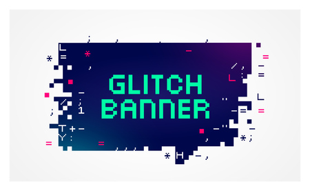 banner effect: Vector glitch banner with text placeholder. Geometric talk bubble with broken pixel effect on the edges on a dark background.