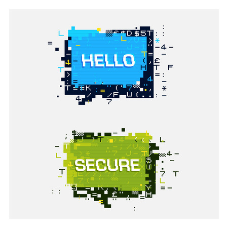 speach: Vector set of glitch banners with text. Geometric talk bubble with error effect on the edges, pixel-art style. Hello and Secure labels. Illustration