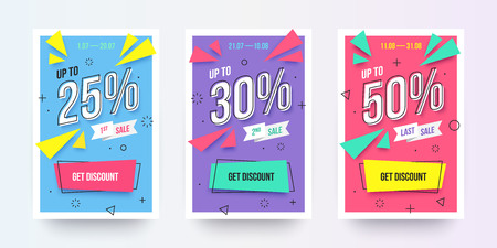 Trendy flat geometric vector banner set, vivid banners in retro poster design style vintage shapes. Modern neon colors: magenta, cyan and purple. Sale labels with discount numbers.
