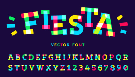 Vector font made of colorful neon tape pieces.