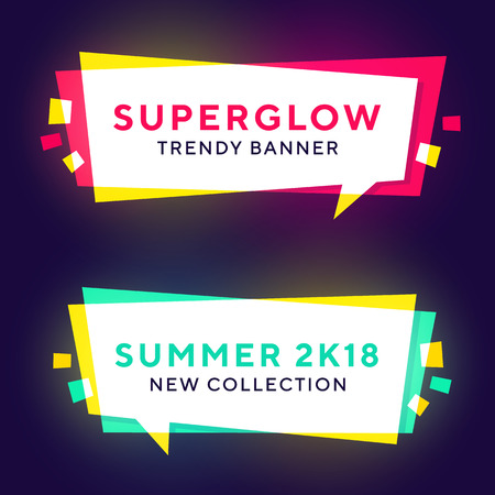 Set of trendy neon glowing geometric vector banners. Ilustrace