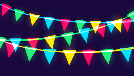Vector neon glowing pary flags of different vivid colors.
