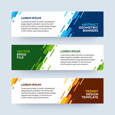 Set of three vector abstract baners. Trendy modern flat material design style. Blue, green and orange colors. Text placeholder.