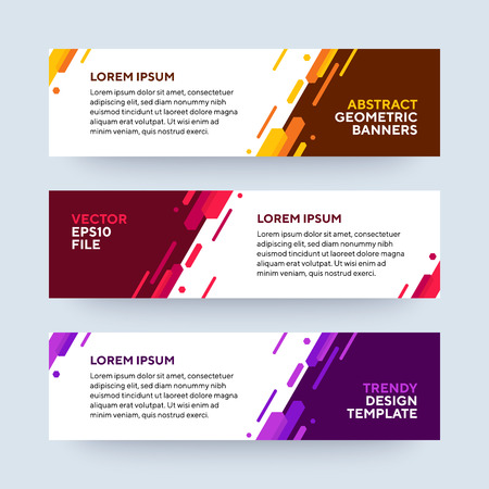 Set of three vector abstract baners. Trendy modern flat material design style. Purple, red and yellow colors. Text placeholder.