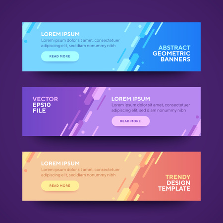 Set of three vector abstract baners. Trendy modern flat material design style. Blue, purple and orange colors. Text placeholder. Ilustrace