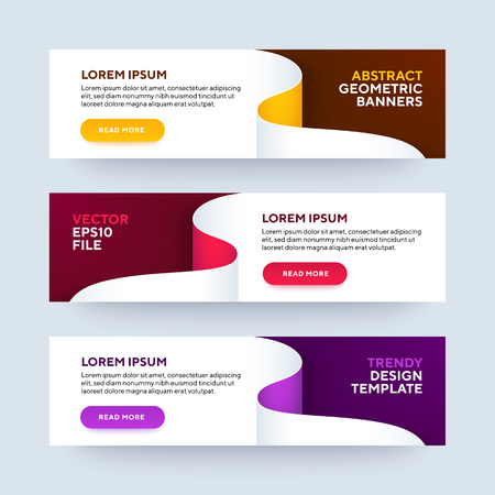 Set of three vector abstract baners. Trendy modern flat material design style. Yellow, pink and purple colors. Text placeholder. Ilustração