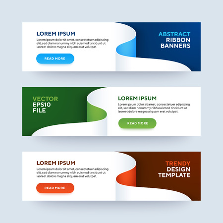 Set of three vector abstract baners. Trendy modern flat material design style. Blue, green and red colors. Text placeholder. Stock Illustratie