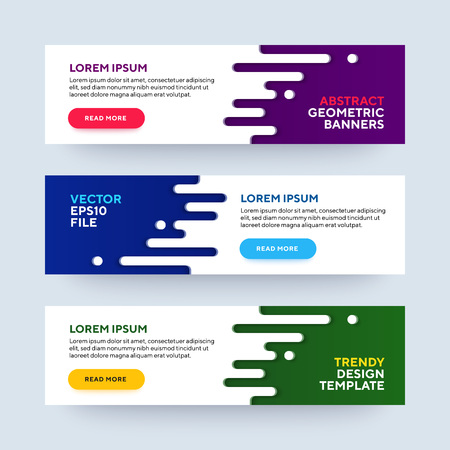 Set of three vector abstract baners. Trendy modern flat material design style. Blue, green and purple colors. Text placeholder.