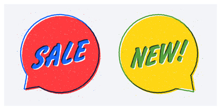 Vector SALE and NEW banners in rough hand drawn style. Red and yellow round speech bubbles with blue and green outlines. Stock Vector - 114953872