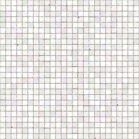 Seamless mosaic floor pattern. White pavement stone tiles. Geometric mediterranean texture. Stock Illustratie