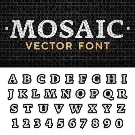Vector mosaic floor style font. Latin letters from A to Z and numbers from 0 to 9 made of pavement stones. Beautiful classic design. Stock Vector - 112238029