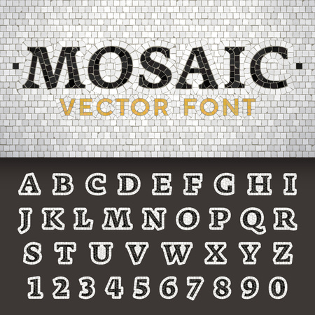 Vector mosaic floor style font. Latin letters from A to Z and numbers from to 9 made of pavement stones. Beautiful classic design.