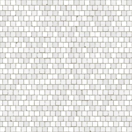 Seamless pavimento in mosaico pattern. Mattonelle bianche della pietra della pavimentazione. Struttura mediterranea geometrica. Vettoriali