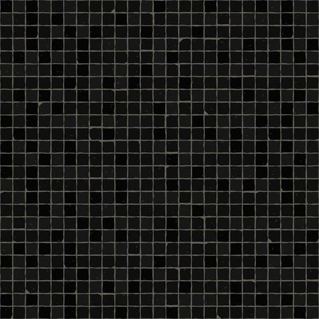 Modello di pavimento a mosaico senza soluzione di continuità. Piastrelle in pietra per pavimentazione nera. Trama mediterranea geometrica.
