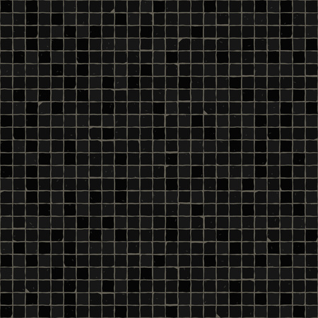 Seamless mosaic floor pattern. Black pavement stone tiles. Geometric mediterranean texture.
