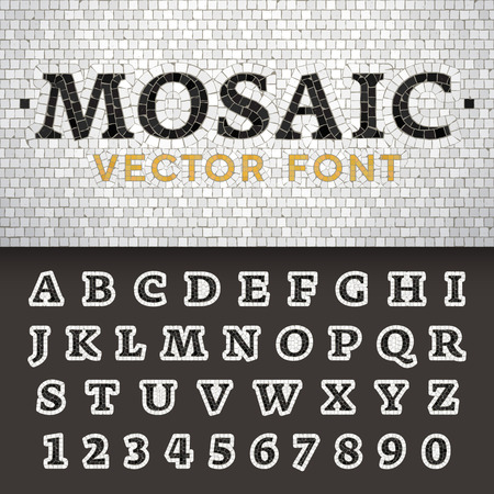 Vector mosaic floor style font. Latin letters from A to Z and numbers from 0 to 9 made of pavement stones. Beautiful classic design.
