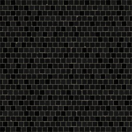 Seamless mosaic floor pattern. Black pavement stone tiles. Geometric mediterranean texture.
