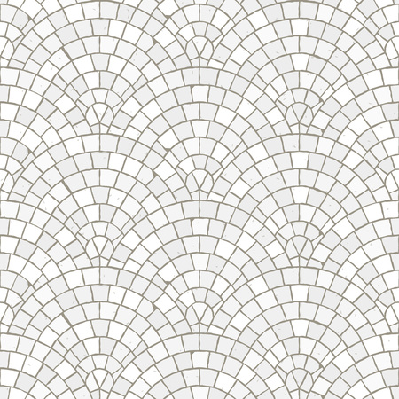 Seamless mosaic floor pattern. White pavement stone tiles. Geometric mediterranean texture. Stock Illustratie