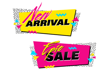 Vector set of memphis style banners with New Arrival and Epic Sale labels. Bright geometric shapes and textures. 90s or 80s design template ready to be used in poster, email or advertisement.
