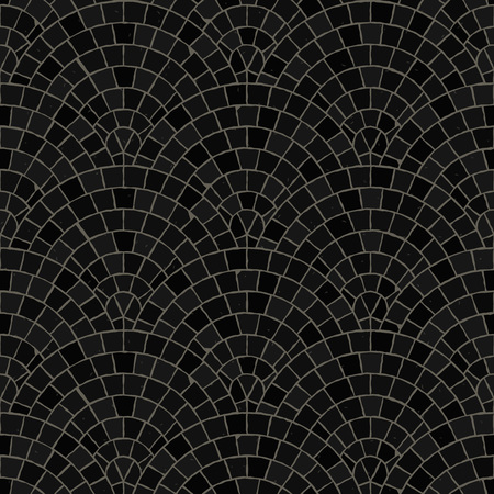 Seamless mosaic floor pattern. Black pavement stone tiles. Geometric mediterranean texture. Reklamní fotografie - 112238040
