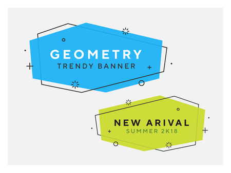 Set of trendy flat geometric vector banners. Vivid transparent banners in retro poster design style. Vintage colors and shapes. Green and blue colorss. 90s or 80s memphis style.