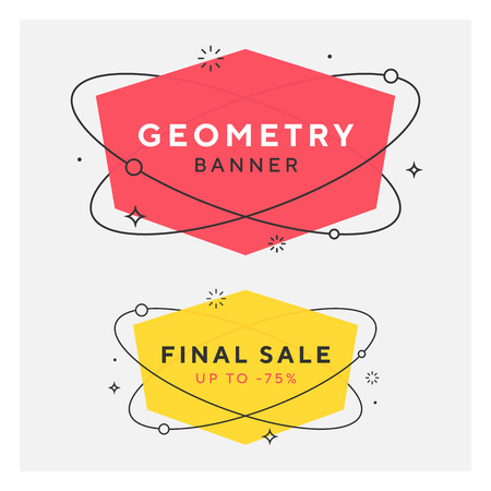 Set of trendy flat geometric vector banners. Vivid transparent banners in retro poster design style. Vintage colors and shapes. Red and yellow colors. 90s or 80s memphis style.