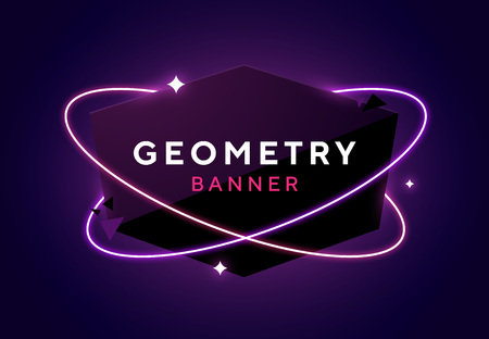 Vector geometric dark glossy banner with neon orbits. Trendy origami paper design style. Purple space and stars background. Ilustrace