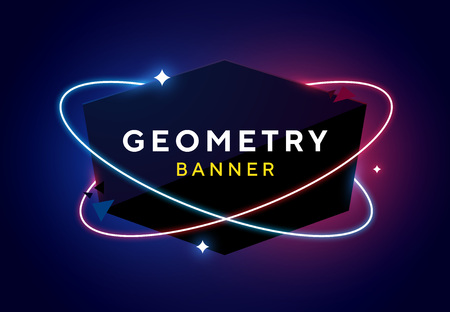 Vector geometric dark glossy banner with neon orbits. Trendy origami paper design style. Blue and purple space and stars background.
