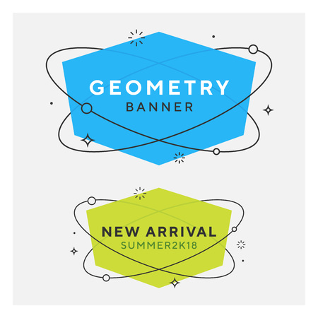 Set of trendy flat geometric vector banners. Vivid transparent banners in retro poster design style. Vintage colors and shapes. Green and blue colors. 90s or 80s memphis style. Ilustrace