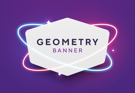Vector geometricwhite paper banner with red and blue neon orbits. Trendy origami or material design style. Purple background with shining stars.