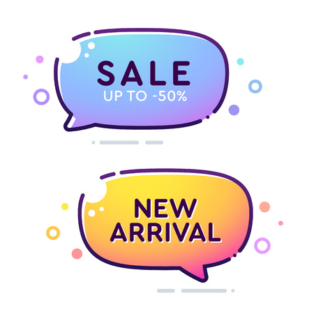 Set of vector bold dashed outline stroke banners. Rounded speech bubble shape. Nice and cute design template with colorful elements. Sale and New Arrival labels Ilustrace