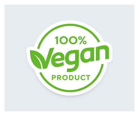 100percent Vagan Product vector sticker. Logo or badge for package design. Organic design template.