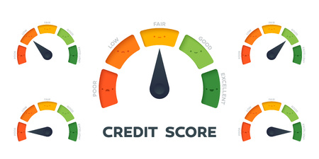 Credit Score vector gauge. All states with different arrow position. 5 different colors and states from poor to excellent.