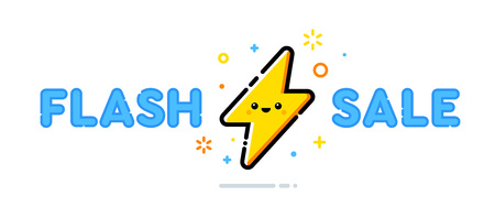 Flash Sale vector design concept. Cute lightning bolt character. Illustration template.