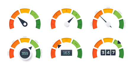 Credit Score vector gauges. 6 different design templates. Different arrow position and information display. Ilustrace