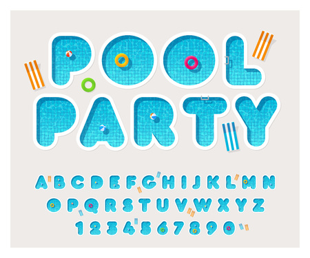 Vector pool font. Rounded letters fulled with water. Latin alphabet from A to Z and numbers from 0 to 9. English typeface.