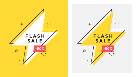 Trendy vector flash sale banne. Vivid lightning bolt in retro poster design style. Vintage colors and shapes. Red and yellow colors. 90s or 80s memphis style. Ilustrace