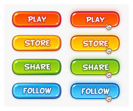 Set of vector game user interface buttons. Two different state, default and hover or pressed. 4 colors, yellow, red, green and blue.