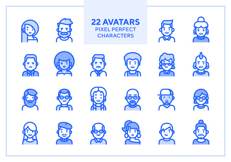 Vector set of users avatars and profile picture. Simple line minimalistic icons for website, application or presentation. Modern flat style. Interchangeble parts. Character illustration.