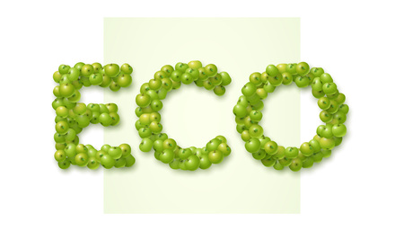 Eco label made of green apples. Vector design concept.