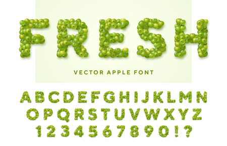 Fresh vector font made of green apples. Latin alphabet from A to Z and numbers from 0 to 9. English capital letters