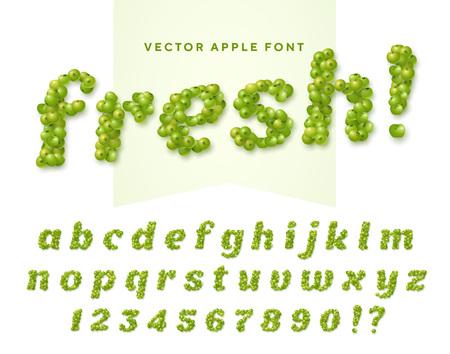 Fresh vector font made of green apples. Latin alphabet from A to Z and numbers from 0 to 9. English small letters
