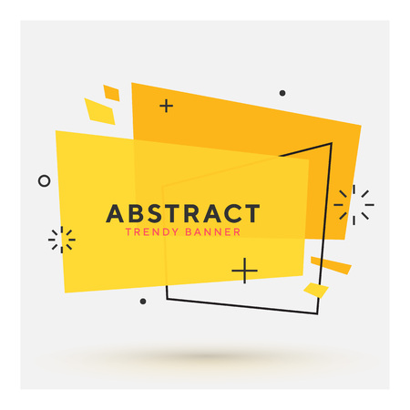 Modern abstract vector banner. Flat geometric shapes of different colors with black outline in memphis design style. Template ready for use in web or print design.