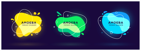 Set of modern abstract neon vector banners. Flat geometric shapes of different colors with white outline in memphis design style. Template ready for use in web or print design.