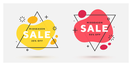 Set of modern abstract vector banners. Flat geometric shapes of different colors with black riangle outline in memphis design style. Template ready for use in web or print design. Illustration