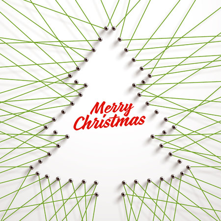 A lot of strings making the shape of a Christmas Tree. Creative frame for your design, realistic vector string art. Threads and nails illustration. Illustration