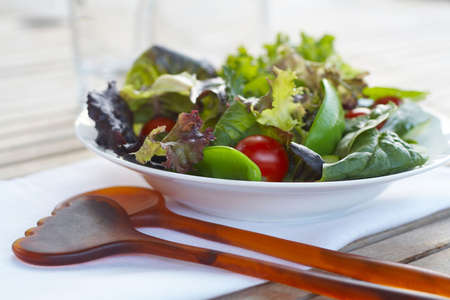 Healthy salad closeup on outdoor table setting Stock Photo - 3481800