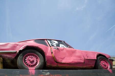 derelict: Derelict car with copyspace Stock Photo